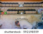 Small photo of Lisbon, Portugal - May 25, 2015: A Ginjinha Registada, the oldest and most famous establishment in Lisbon dedicated to sell Ginjinha, a type of Sour Cherry Brandy typical of the city