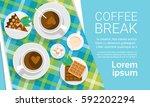 coffee cup break breakfast... | Shutterstock .eps vector #592202294