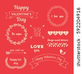 valentine s day design elements ... | Shutterstock .eps vector #592204916