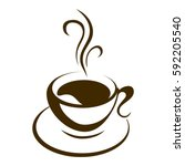 hot coffee cup vector on a... | Shutterstock .eps vector #592205540