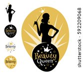 beauty queen logo  emblem ... | Shutterstock .eps vector #592209068