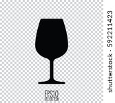 wine glass icon. flat style for ... | Shutterstock .eps vector #592211423