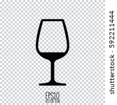 wine glass icon. flat style for ... | Shutterstock .eps vector #592211444