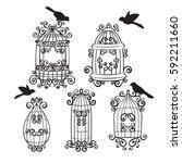 set birdcages with birds   Shutterstock .eps vector #592211660