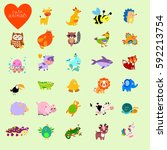 Set Of Vector Funny Animals In...