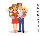 illustration of happy family  ... | Shutterstock .eps vector #592214900