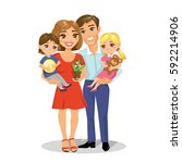 illustration of happy family  ... | Shutterstock .eps vector #592214906