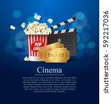 cyan cinema movie design poster ... | Shutterstock .eps vector #592217036