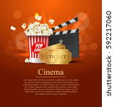 orange cinema movie design... | Shutterstock .eps vector #592217060