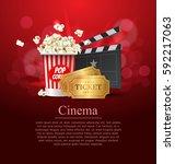 red cinema movie design poster... | Shutterstock .eps vector #592217063
