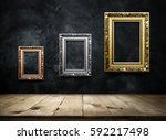 antique picture frame copper ... | Shutterstock . vector #592217498