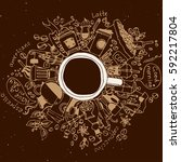 coffee doodle concept on brown...   Shutterstock .eps vector #592217804