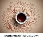 coffee doodle concept   sketch... | Shutterstock .eps vector #592217894