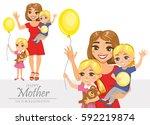 set of illustrations of happy... | Shutterstock .eps vector #592219874
