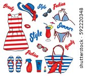 a set of summer clothes and...   Shutterstock .eps vector #592220348