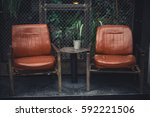 front of a caffe with two... | Shutterstock . vector #592221506