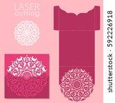 vector die laser cut envelope... | Shutterstock .eps vector #592226918