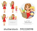 set of illustration of happy... | Shutterstock .eps vector #592228598