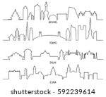 outline skyline with city... | Shutterstock .eps vector #592239614