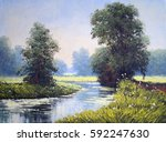 oil paintings landscape river | Shutterstock . vector #592247630