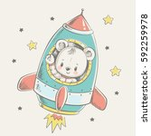 cute bear flying in a rocket... | Shutterstock .eps vector #592259978