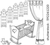 cute bed for little baby... | Shutterstock .eps vector #592261220