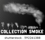 set of realistic smoke  steam... | Shutterstock .eps vector #592261388
