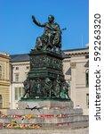 bronze statue of king... | Shutterstock . vector #592263320