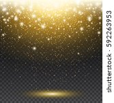 sparks and falling gold glitter ... | Shutterstock .eps vector #592263953