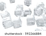 ice cubes isolated on white... | Shutterstock . vector #592266884