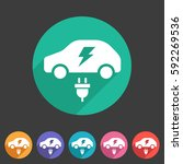 electric car icon flat web sign ... | Shutterstock .eps vector #592269536