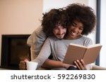 young beautiful multiethnic... | Shutterstock . vector #592269830