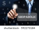business man pointing hand on... | Shutterstock . vector #592273184