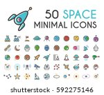 set of 50 minimalistic solid... | Shutterstock .eps vector #592275146