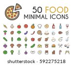 set of 50 minimalistic solid... | Shutterstock .eps vector #592275218