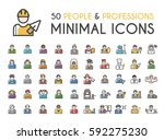 set of 50 minimalistic solid... | Shutterstock .eps vector #592275230