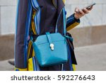 milan   february 22  woman with ... | Shutterstock . vector #592276643