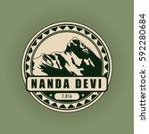 nanda devi  mountain symbol ... | Shutterstock .eps vector #592280684