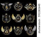 heraldic decorative emblems...   Shutterstock .eps vector #592282640