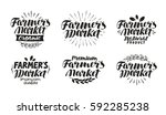 farmer's market  label. farm ... | Shutterstock .eps vector #592285238