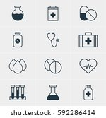 illustration of 12 health icons.... | Shutterstock . vector #592286414