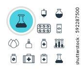 illustration of 12 health icons.... | Shutterstock . vector #592287500
