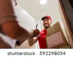 delivery  mail  people and... | Shutterstock . vector #592298054