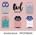 owl tag set  vector... | Shutterstock .eps vector #592298600