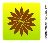 flower sign. vector. brown icon ...