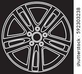 car metal alloy wheel rim with... | Shutterstock .eps vector #592303238