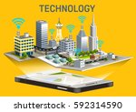 extensive telephone system in... | Shutterstock .eps vector #592314590