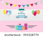 vector happybirthday card on a... | Shutterstock .eps vector #592328774