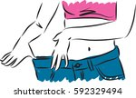 woman losing weight vector... | Shutterstock .eps vector #592329494