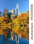 central park with morning... | Shutterstock . vector #592335500